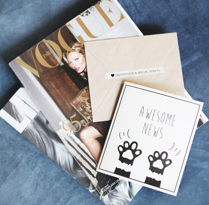 TheGiftLabel: Awesome News! #Postcard #MagazineVogue #DeliveryForASpecialPerson #Love #Friends