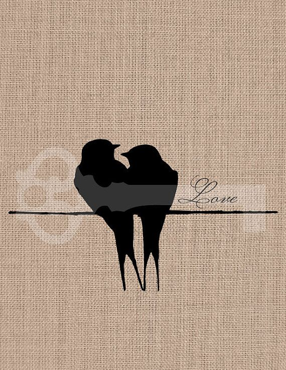 Two Love Birds On A Wire Silhouette