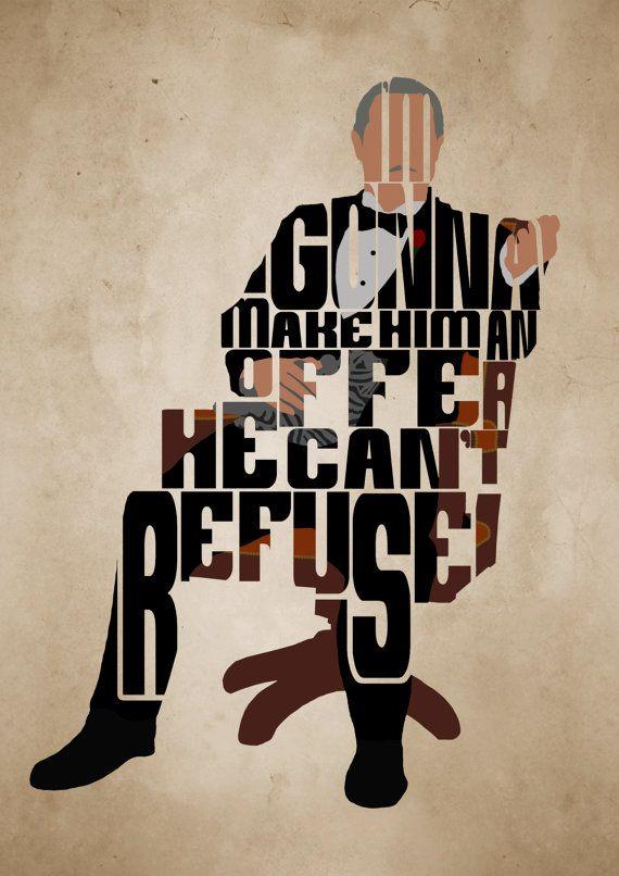 The Godfather, Marlon Brando, Vito Corleone Poster - Minimalist Typography Poster, Movie Poster, Art Print, Illustration, Wall Art
