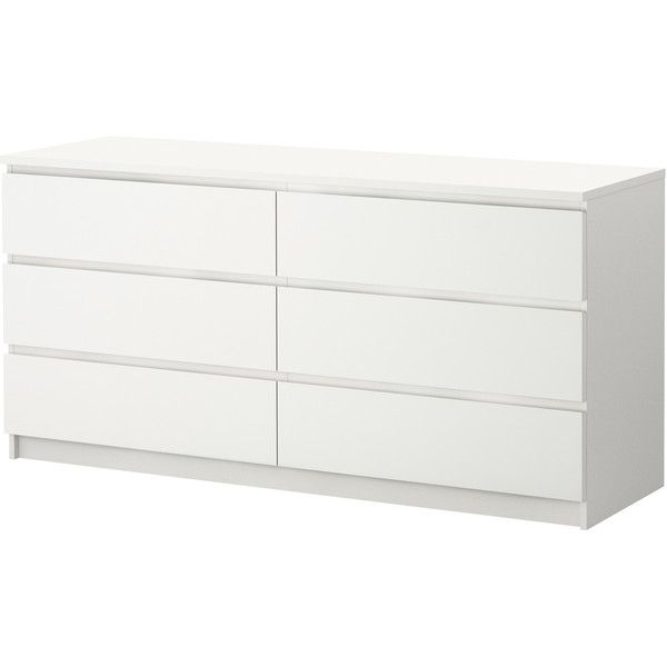 IKEA MALM 6-drawer dresser, white ($149) via Polyvore featuring home, furniture, storage & shelves, dressers, ikea, dresser, malm, drawer furniture, white dresser and white drawer dresser