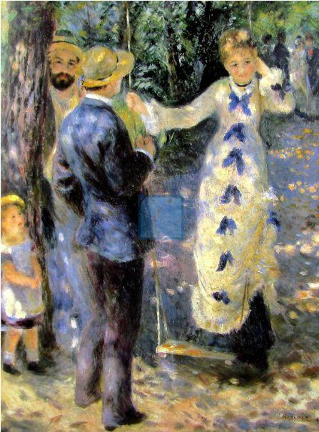 <그네>, Pierre-Auguste Renoir,1876.  아름다운 소녀가 그네를 타려고 하고 있고, 그 앞에선 멋진 신사가 그녀를 바라보고 있다. 나무 뒤에 서 있는 남자는 앞의 신사를 견제하듯이 바라보고 있다. 아무래도 세 남녀는 삼각관계에 놓여있는 듯 하다. 나무 앞의 어린 소녀는 그네를 타는 여인을 신기하고 부럽다는 듯이 쳐다보고 있다. 멀리 뒤에 있는 커플은 그네를 타려는 듯 소녀 쪽을 바라보고 있는데 한 편으론 소녀에 대해 수근 거리는 느낌이 들기도 한다. 소녀를 바라보는 신사의 얼굴이나 눈빛은 보이지 않지만 소녀를 바라보는 그의 뒷모습에서 소녀를 사랑스럽게 바라보고 있는 듯한 그의 눈빛이 느껴지는 것 같다. 그의 눈빛이 부끄러운 듯 소녀는 얼굴을 붉히며 수줍게 머리를 만지고 있다.