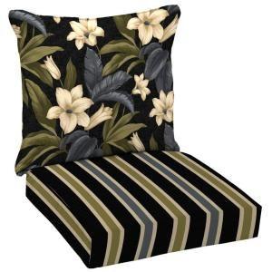 Hampton Bay Reversible Black Tropical Blossom Patio Deep Seat Cushion Set
