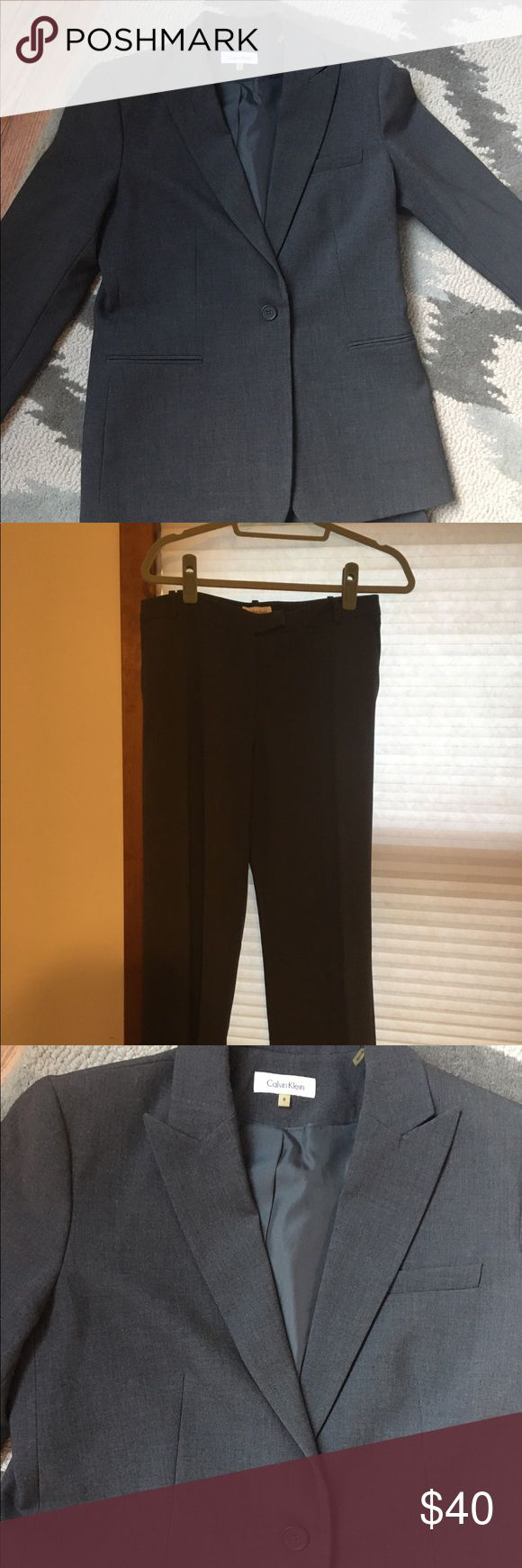Calvin Klein suit Grey Calvin Klein pants suit. Very professional looking. Pants have thin waistband and are straight fit. Jacket is lined. Calvin Klein Jackets & Coats Blazers