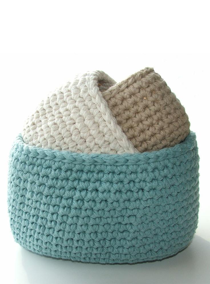 Crocheted storage bins