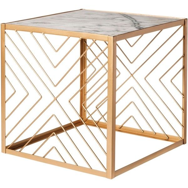 Accent Table: Nate Berkus Square Gold Accent Table with Marble Top,... ($100) ❤ liked on Polyvore featuring home, furniture, tables, accent tables, decor, nate berkus table, nate berkus, marble top accent tables, colorful furniture and multi colored furniture