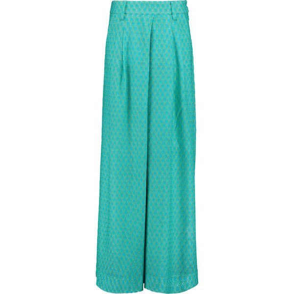 Missoni - Pleated Crochet-knit Wide-leg Pants (57.180 RUB) ❤ liked on Polyvore featuring pants, turquoise, missoni pants, blue wide leg pants, wide leg pants, pleated wide leg trousers and zig zag pants