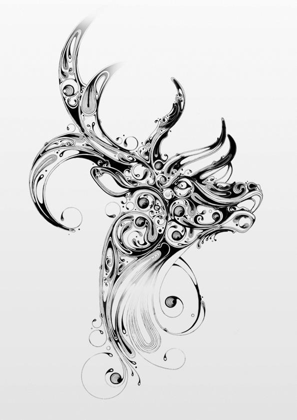 dessin de cerf  Beautiful deer