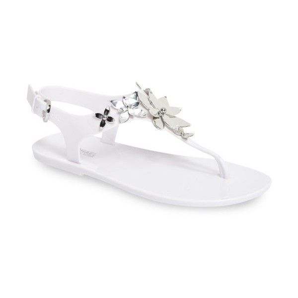 Women's Michael Michael Kors Lola Flowered Jelly Sandal (215 BRL) ❤ liked on Polyvore featuring shoes, sandals, slingback shoes, jellies shoes, toe post sandals, thong sandals and flower thong sandals