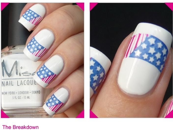 This flag nail art used a nail stamp to achieve this print. Patriotic Fingers: 4th of July Nail Art Ideas Plus a Giveaway! | Beauty High