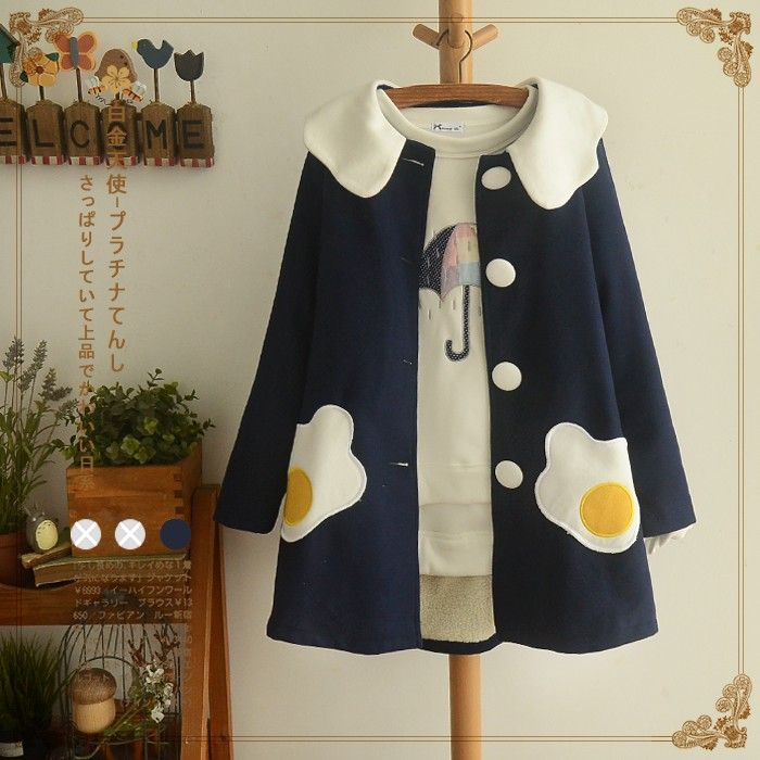 "Japanese Lolita poached egg woolen coat SE9400    Coupon code ""sanrense"" for 10% off"