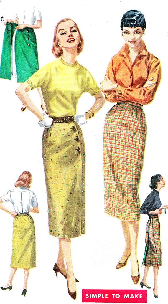 1950s Skirt Pattern Simplcity 1688 Rockabilly Side by paneenjerez, $10.00 pencil skirt 50s 60s yellow brown tan