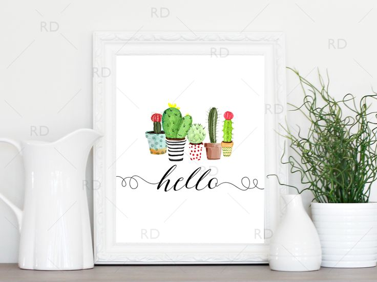 """FREE """"hello"""" printable with painted cactus! Adorable :)"""
