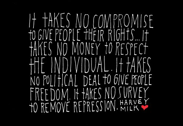 365 Days of Hand Lettering: Day 152 by Lisa Congdon, quote by Harvey Milk