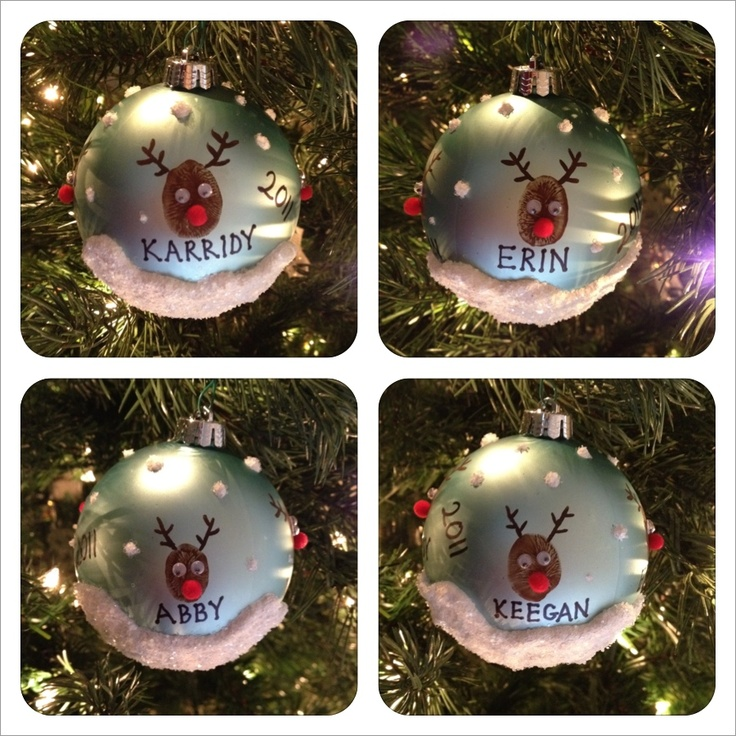 """Our 2011 Family Christmas Ornament! These are all the """"reindeer"""", all on one single ornament."""