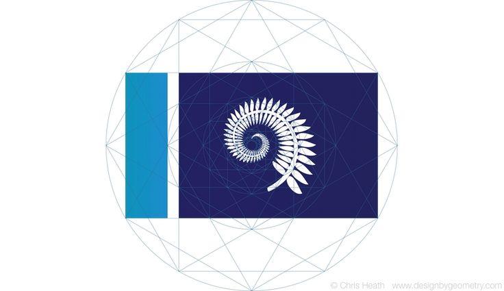 Silver Fern Koru Flag Design, July 2015, sacred geometry, flags, NZ, New Zealand. #nzflag #flags #NZ #grid #geometric #silverfern