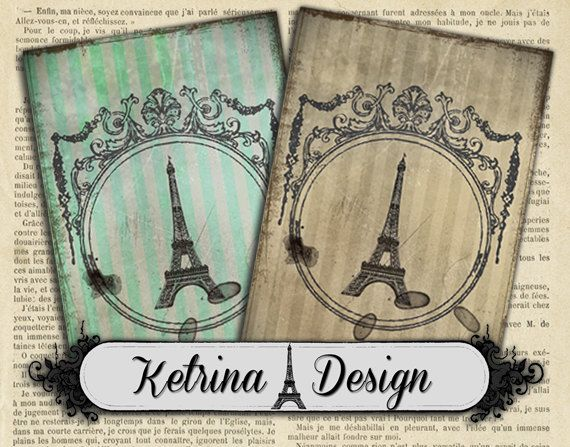 Vintage Paris ATC Cards 2.5 x 3.5 instant by KetrinaDesign on Etsy