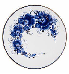 Тарелка Лунный свет 30 см (краски/золото) - Гжельский фарфоровый завод