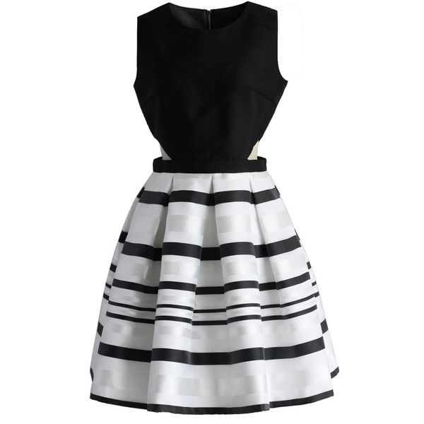 Chicwish Fancy Stripes Cutout Dress (352025 PYG) ❤ liked on Polyvore featuring dresses, vestidos, short dresses, robes, striped cocktail dress, cutout mini dress, striped mini dress and striped dress