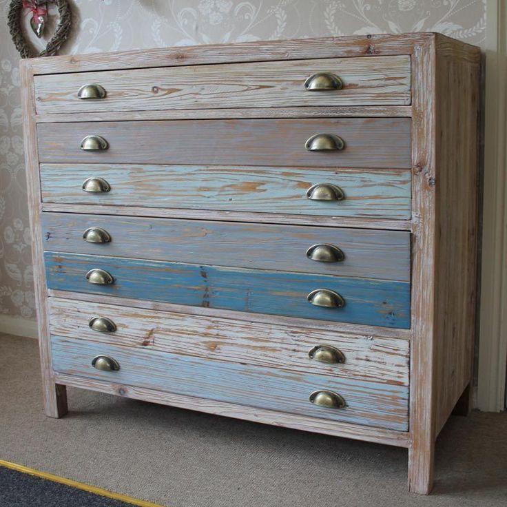 Large four drawer blue distressed wooden bedroom stroage