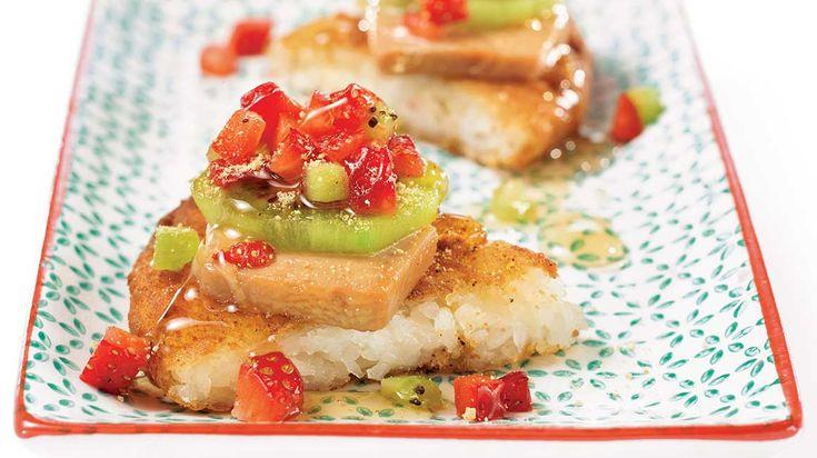 Pizza sushi dessert au foie gras et au kiwi