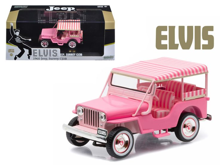 "1960 Jeep Surrey CJ3B ""Pink Jeep"""" Elvis Presley (1935-1977) 1/43 Diecast Model Car  by Greenlight"""