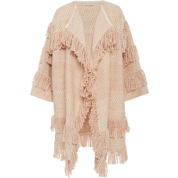 Ulla Johnson Safira Fringe Cardigan (€510) ❤ liked on Polyvore featuring tops, cardigans, fringe top, tiered top, draped sleeve top, ulla johnson and fringe sleeve top
