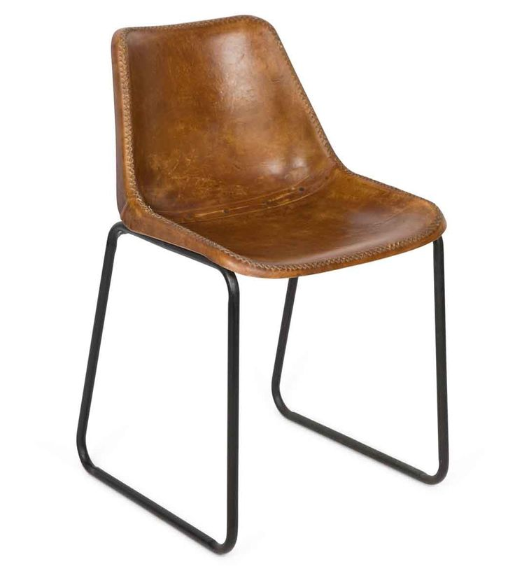 $269 Vintage Aged Leather Dining Chair - Tan