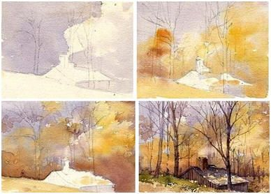 Enjoy a Free, Step-BY-Step, DIY Watercolor Landscape Demonstration by Artist and Teacher Mary Ann Boysen. På bloggen annat fint , ska läsa genom!