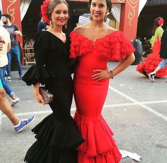 Negro y rojo colores elegantes para un vestido de flamenca