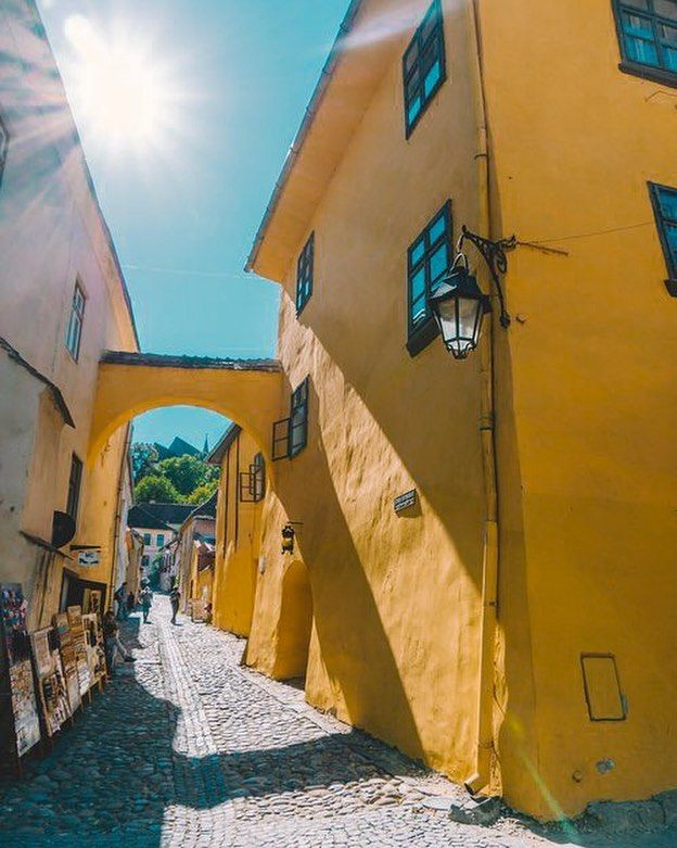 Vlad the Impaler (aka Dracula) was born in this happy yellow house in Sighisoara a medieval town in the heart of Romania #havesomecolor