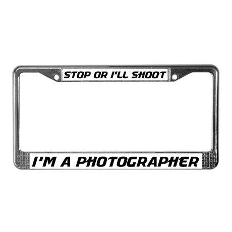Funny Photographer License Plate Frame on CafePress.com