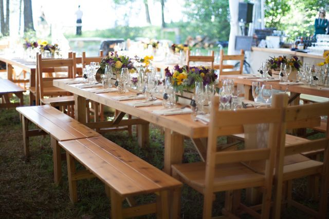 Outdoor Wedding With Wood Table Rentals From Seattle Farm Tables Photo By One Love Photography Cedar Tab Cedar Table Ladder Back Chairs Rustic Dining Table