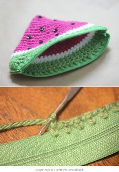 crochet - easy attaching zip to projects and detailed instructions for this cute change purse starting at the zip - magic!