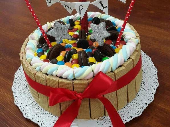 Torta Para Cumpleaños Super Fácil Receta De Melina Gejo Receta Torta De Cumpleaños Facil Tortas Torta Decorada Con Golosinas