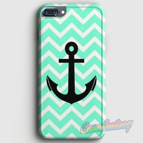 Aqua Chevron With Black Anchor iPhone 7 Case | casefantasy
