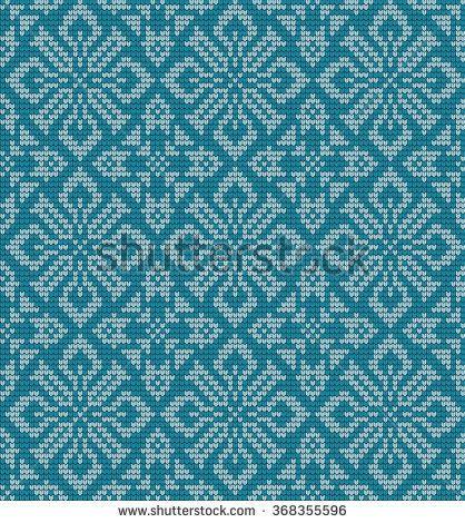 knitted winter flower pattern vector