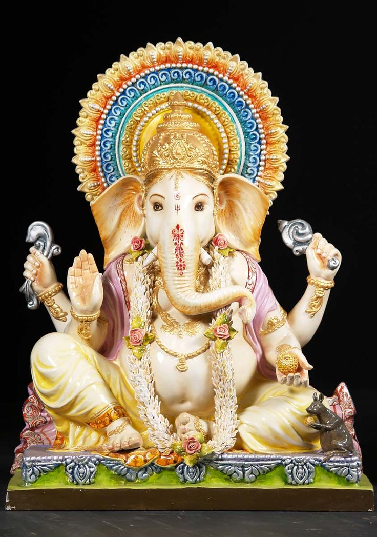 """View the Fiber Seated Ganesh Statue 40"""""""