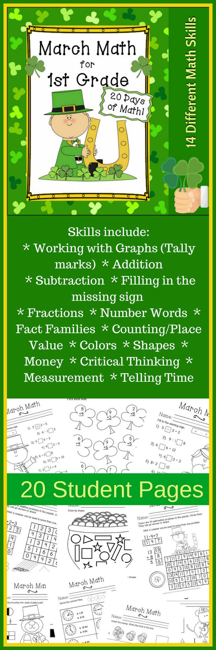 1118 best homeschool deals n steals images on pinterest free march math 20 days of 1st grade mixed practice has a fun st patricks day theme skills include working with graphs tally marks addition fandeluxe Gallery