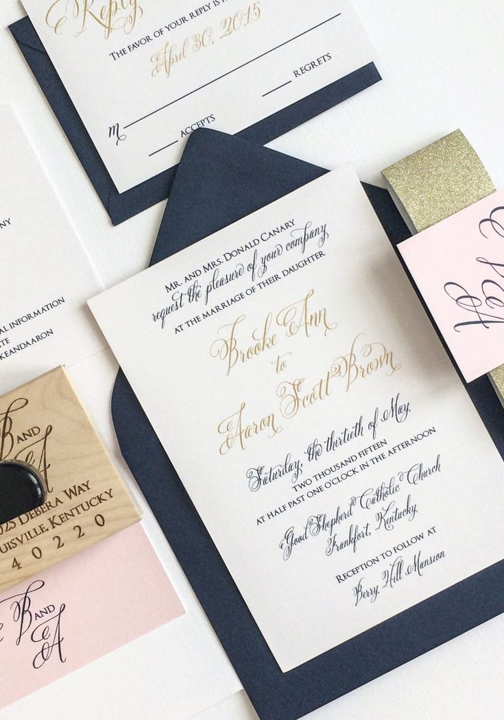 Gold Navy and Blush Wedding Invitation for