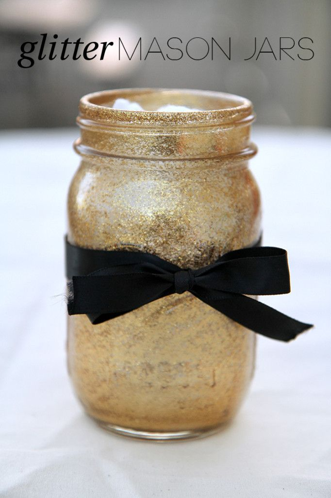 These glitter mason jars are a perfect way to spruce up any office space or add glitz to your wedding favors.