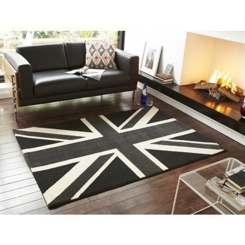 Union Jack Rug Funky Black Grey And Cream Design Very Modern Fantastic For Weddings Sports Events Any Other Patriotic Special Occion