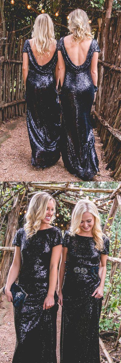 black long bridesmaid dress, black sequins bridesmaid dress, mermaid long bridesmaid dress, wedding party dress