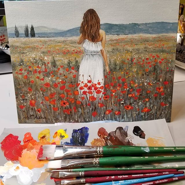 Woman In A Field Of Poppies Acrylic Painting Tutorial By Angela