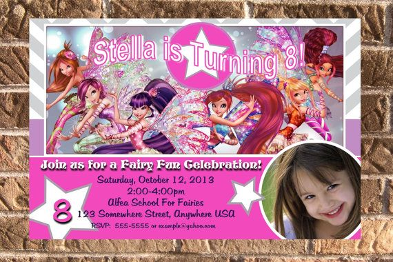 Winx Club Birthday Party Photo Invitation with free by Design13, $10.00