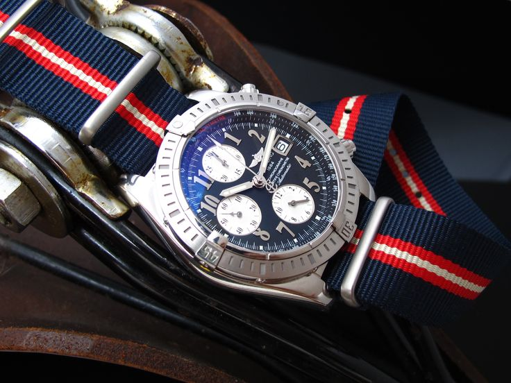 Breitling Chronomat Evolution B13356 on MiLTAT 22mm G10 military watch strap ballistic nylon armband, Brushed - Blue, Red, Beige [22A22BZZ00N2P20]