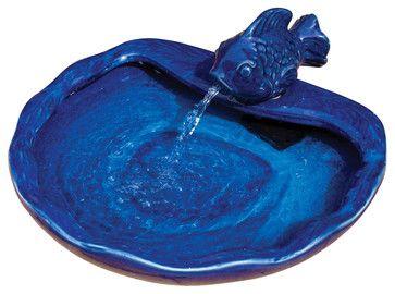 Ceramic Solar Koi Fountain - Blue Glazed eclectic-outdoor-fountains