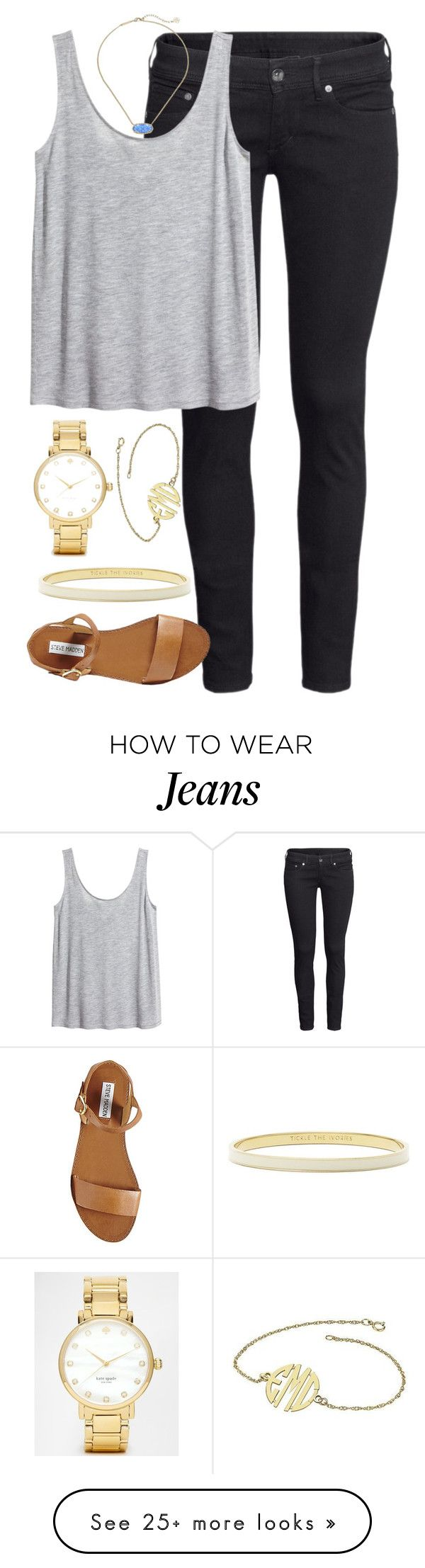 """jeans"" by whitegirlsets on Polyvore featuring H&M, Steve Madden, Kate Spade and Kendra Scott"