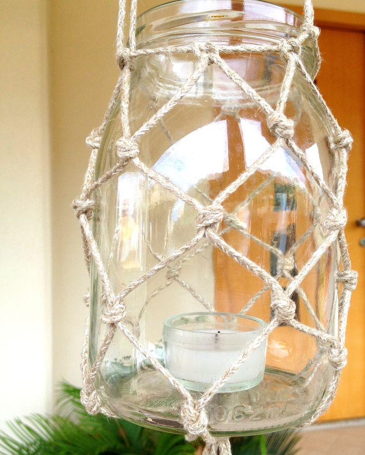 Porta vaso da appendere a macrame in corda