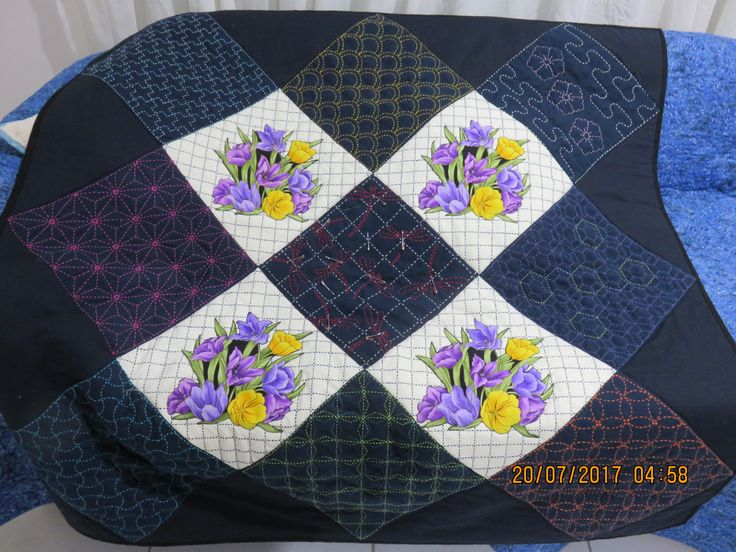 I made this  all by hand.Sashiko with applique. Jul 2017