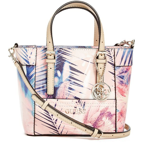 GUESS Delaney Floral-Print Mini Tote (60 CAD) ❤ liked on Polyvore featuring bags, handbags, tote bags, coral multi, floral tote bag, pink purse, guess purses, guess handbags and mini tote bag
